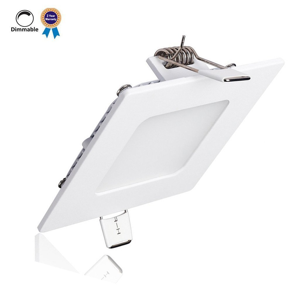 B-right 9W 5-inch Dimmable Square LED Panel Light Ultra-thin 720lm 5000K Cool White LED Recessed Ceiling Lights for Home Office Commercial Lighting
