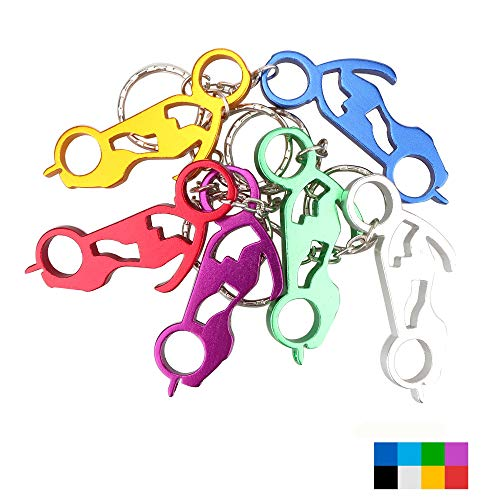 Swatom Motorcycle Aluminum Alloy Beer Bottle Opener Keychain Key Tag Chain Ring Accessories (6 PCs)