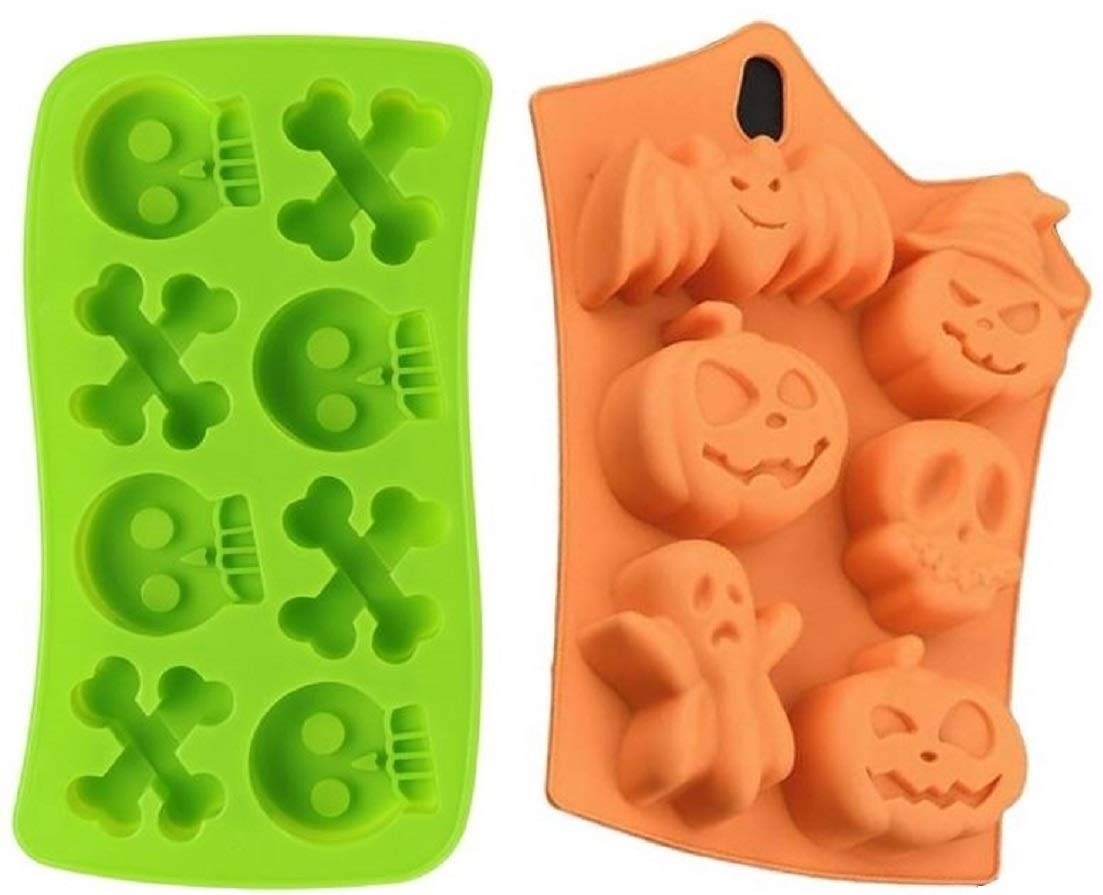 Set of 2 Silicone Halloween / Day of the Dead Candy Soap & Ice Molds - Pirate Party Supplies with Pumpkins Skulls Crossbones Ghosts Bats (Random Colors Sent) by Jolly Jon