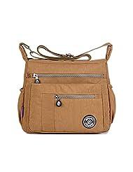 TianHengYi Womens Lightweight Nylon Cross-body Shoulder Bag Casual Messenger Bag with Zipper Pockets