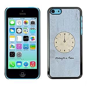 FECELL CITY // Duro Aluminio Pegatina PC Caso decorativo Funda Carcasa de Protección para Apple Iphone 5C // Time Clock Paris Eiffel Art Midnight