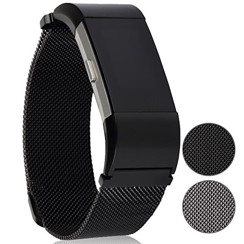 Premium Replacement Bands for Fitbit Charge 2 by Lorum: Stainless Steel Metal Bracelet Strap In Silver & Black – Strong Magnet Lock With Buckle Design HR Fitness Tracker – Small - On Make How To Glasses Tighter Face