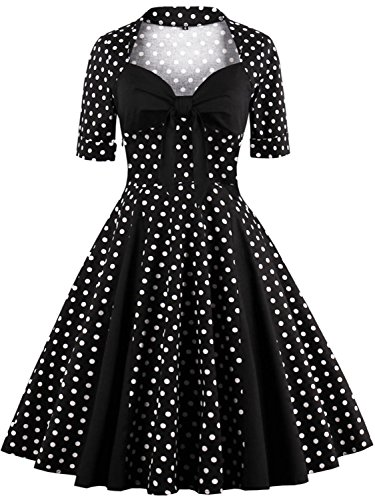 [Vintage 1940s Audrey Hepburn Dresses Retro Costume with Sleeves,Black,3XL] (1950s Costumes Plus Size)