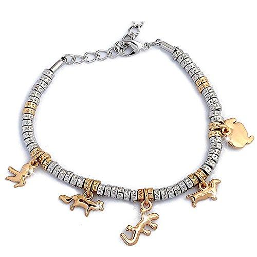 21d5240f11 Bracciale con charms , braccialetto donna e ragazza , con ciondoli e  cristalli , placcato rodio colorazione oro e argento , misura regolabile ...