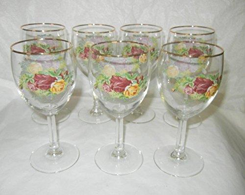 - ROYAL ALBERT OLD COUNTY ROSE GOBLETS GOLD TRIM WINE GLASS (SET OF 4)