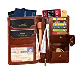 ABYS Genuine Leather Brown Unisex Credit Card Case||Passport Wallet||Passport Holder||Purse||Passbook Holder||Card Holder with Button Closure