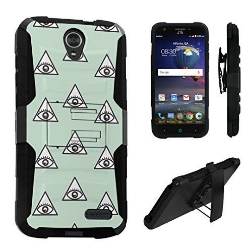 ZTE Grand X3 Case, DuroCase Hybrid Dual Layer Combat Armor Style Kickstand Case w/ Belt Clip Holster Combo for ZTE Grand X 3 (X3) Z959 (Released in 2016) - (Eye - In Providence Mall