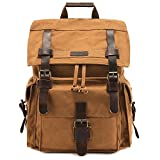 Kattee Men's Leather Canvas Backpack Large School Bag Travel Rucksack Khaki