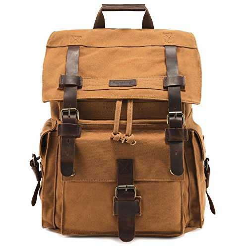 Kattee Men's Leather Canvas Backpack Large School Bag Travel Rucksack Khaki (Best Get Home Bag Backpack)