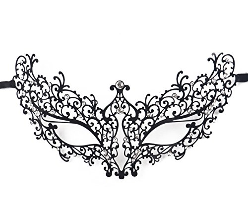 Jinfengkai Venetian Masquerade Masks (Women) – Match Ball Gowns, Halloween Costumes, Victorian Roleplay – Laser Cut with Metal Filigree – Great for Dances, Prom, Mardi (Mardi Gras Ball Gowns)