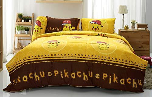 Pikachu Cute Yellow Bedding Set, 1 Fitted Sheet, 1 Pillow Case, 1 Bolster Case, 1 Comforter 040 Set A+1 (Twin ()