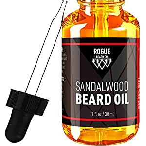 BEARD OIL - SANDALWOOD by Rogue Beard Company 100% ORGANIC Beard Oil and Leave-in Conditioner