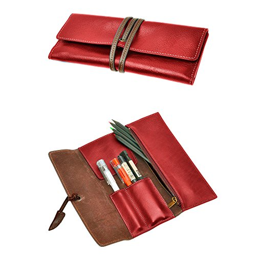 ZLYC Handmade Leather Pen Case Pencil Holder Soft Roll Wrap Bag Pouch Stationery Gift (Red)
