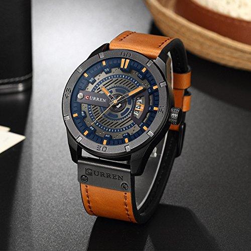 CURREN 8301 Top Brand Luxury Watch Men Date Display Cuero Creativo Relojes de pulsera de cuarzo Naranja: Amazon.es: Relojes