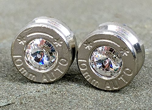 40 Caliber Swarovski Diamond Bullet Casing Stud Earrings