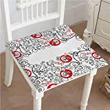 Mikihome Outdoor Chair Cushion Themed Sketchy Birds Swirls and Apple Shapes Scarlet and White Comfortable, Indoor, Dining Living Room, Kitchen, Office, Den, Washable 20''x20''x2pcs