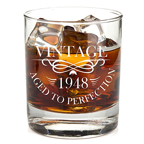 1948 70th Birthday Lowball Whiskey Glass For Men And Women