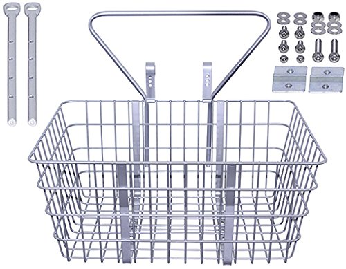Steel Wire Basket with Adjustable Braces Fit 20' to 29' Bikes TL-907ss Silver.