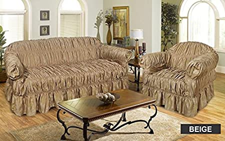 Arm Chair Beige Bedding Instyle Jacquard Sofa Covers Available in 3 Sizes /& 7 Colours 1 Seater