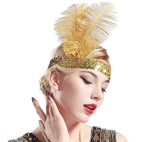 BABEYOND 1920s Flapper Headband Roaring 20s Sequined Showgirl Headpiece Great Gatsby Headband with Gold Feather