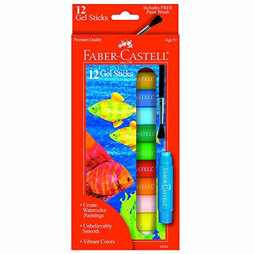 Faber-Castell Gel Sticks - 12 Water-Soluble Pigment Crayons for Kids with Brush
