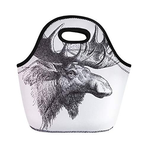 Semtomn Neoprene Lunch Tote Bag Moose Eurasian Elk Alces Vintage From Meyers Konversations Lexikon Reusable Cooler Bags Insulated Thermal Picnic Handbag for Travel,School,Outdoors, Work
