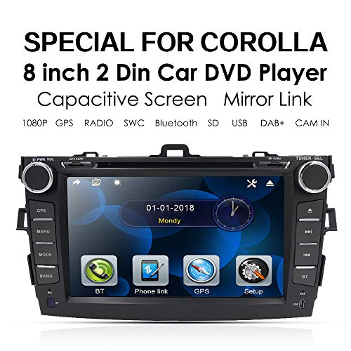 (Car Stereo DVD Player for Toyota Corolla 2007 2008 2009 2010 2011 8 Inch in Dash Navigation SWC/Bluetooth/FM/AM Radio/AV-in Mirrorlink, Optional DAB+ / TMPS)