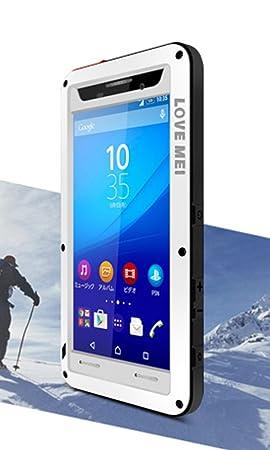 Love Mei carcasa para Sony Xperia M5, resistente al agua, a prueba de golpes, antipolvo, de metal y de aluminio, con cubierta Gorilla Glass