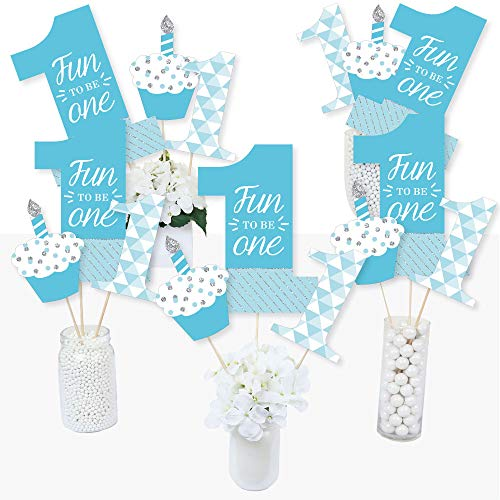 1st Birthday Boy - Fun to be One - First Birthday Party Centerpiece Sticks - Table Toppers - Set of 15 (Centerpieces For Boy Birthday)