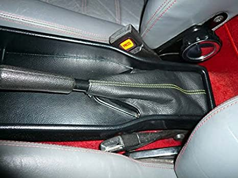 RedlineGoods ebrake Boot Compatible with Alfa Romeo Spider 1986-93 Red Leather-Black Thread