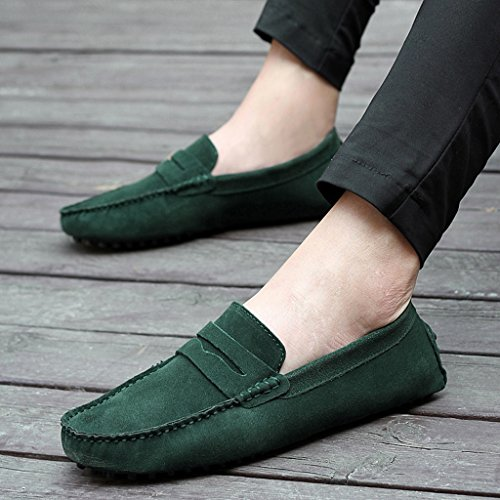 pelle verde casual barca Minitoo confortevole scamosciata uomo Verde in da mocassino caldo qPnPSw0I