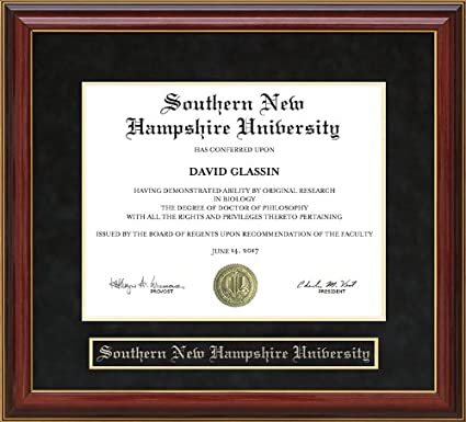 Snhu Online Degrees >> Southern New Hampshire University Snhu Diploma Frame Mahogany