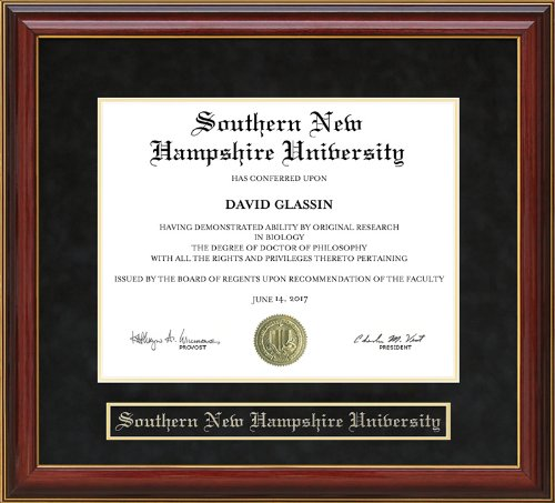 Wordyisms Southern New Hampshire University (SNHU) Mahogany Diploma Frame