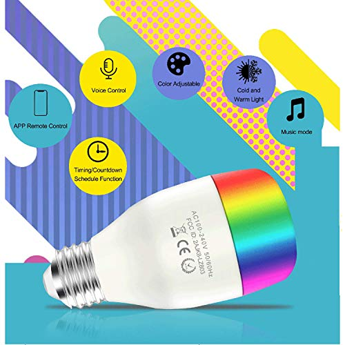 Smart LED Light Bulb WiFi Light Bulb Compatible with Alexa, Google Home, IFTTT, RGB+CCT LED Lamp Bulb, Warm White Dimmable Remote and App Control LED Bulb 9W (800 Lumen, No Hub Required, 2 Packs)