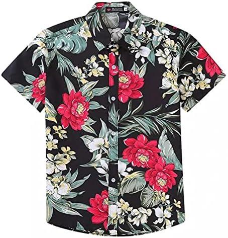 Mens Hawaiian shirt bloemenprint shirt Button korte mouw Casual Fashion Shirt