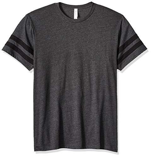 Clementine Mens CVC Stripe Varsity T-Shirt, Charcoal Heather/Black X-Large ()