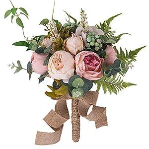 YILIYAJIA Wedding Bridal Bouquet Artificial Peony Flowers Berry Bride Wedding Holding Flowers 54