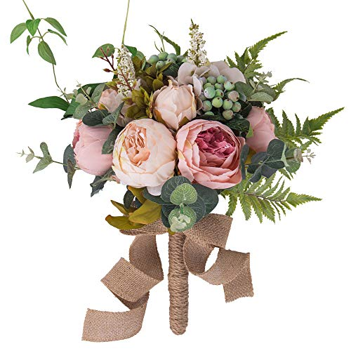 (YILIYAJIA Wedding Bridal Bouquet Artificial Peony Flowers Berry Bride Wedding Holding Flowers (Pink))