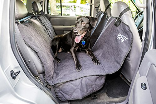 2PET Quilted Premium Deluxe Suede Velvety Feel Truck Seat Cover for Dogs, Cats or Other Beloved Pets - Waterproof Non-Slip Protection Backseat Cover of your Car, Truck, Minivan or SUV - Ebony Black