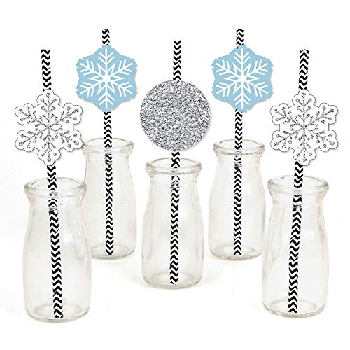 Winter Wonderland Paper Straw Decor - Snowflake Holiday Party & Winter Wedding Striped Decorative Straws - Set of 24