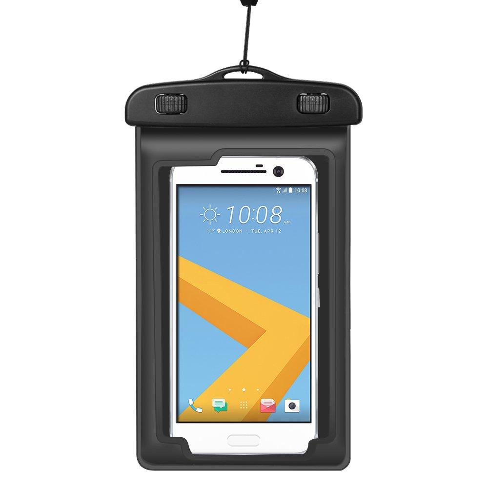 New Dry Lanyard Waterproof Pouch Armband Case for Samsung Galaxy A6/Motorola Moto G6/G6 Plus/G6 Play/E5/E5 Plus/E5 Play/HTC U12/HTC Desire 12 (Black)