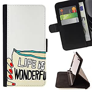 Dragon Case - FOR Samsung Galaxy S6 EDGE - life is wonderful - Caja de la carpeta del caso en folio de cuero del tir¨®n de la cubierta protectora Shell