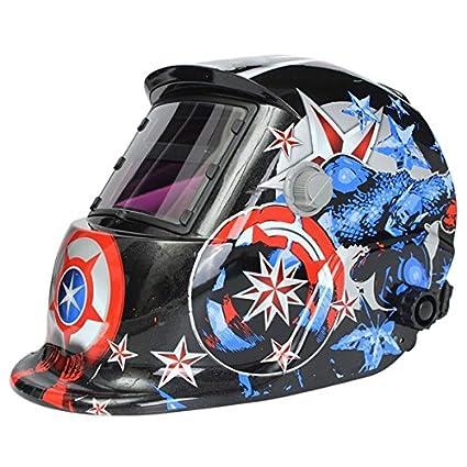 MASUNN Soldador Solar Máscara Casco Soldadura Eléctrica Auto Oscurecimiento Soldadura Casco Capitán América Patrón