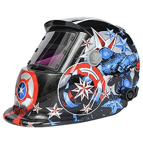 MASUNN Soldador Solar Máscara Casco Soldadura Eléctrica Auto Oscurecimiento Soldadura Casco Capitán América Patrón: Amazon.es: Hogar