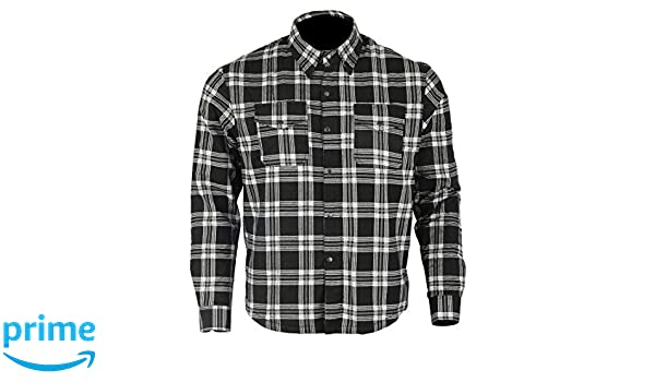 talla L color negro y blanco Camiseta de franela con forro de aramida para motocicleta Kevlar Bikers Gear Australia Limited
