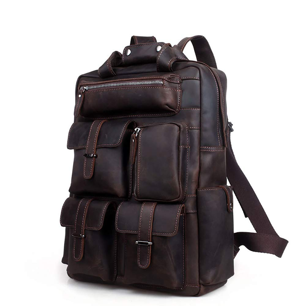 FeliciaJuan Vintage Leather Mens Backpack Large Capacity 19 Laptop Portable Leather Backpack Tote Business Briefcase