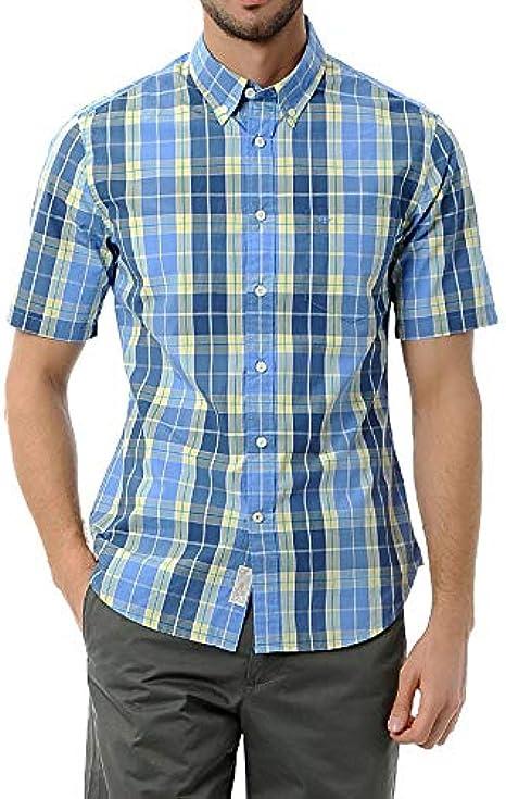 Dockers - Camisa casual a cuadros de manga corta para hombre ...