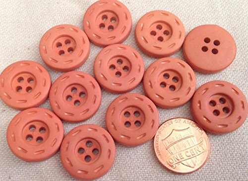Lot Of 12 Matte Terra Cota Thick Plastic Sew Through Button For Sewing Diy Craftss 3 4  19Mm