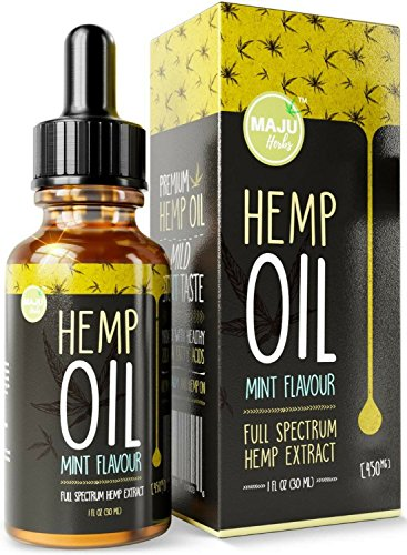 Hemp Oil Extract (450 mg), Strong Full Spectrum Pain & Anxiety Relief, Mild Mint Flavor, Zero THC CBD Cannabidiol, 100% Colorado