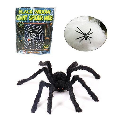 Halloween Hairy Spider Props 5 FT Spider Web Bonus with Stretchable Polyester Spider Cobweb and 1 Little Spider Halloween Party Costume Decorations Creepy Halloween Outdoor Decor